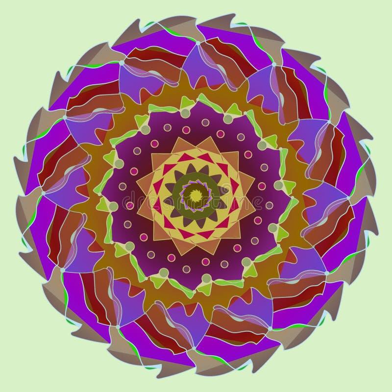 PIĘKNY LOTOSOWEGO kwiatu mandala, PROSTY seledynu tło ilustracja wektor