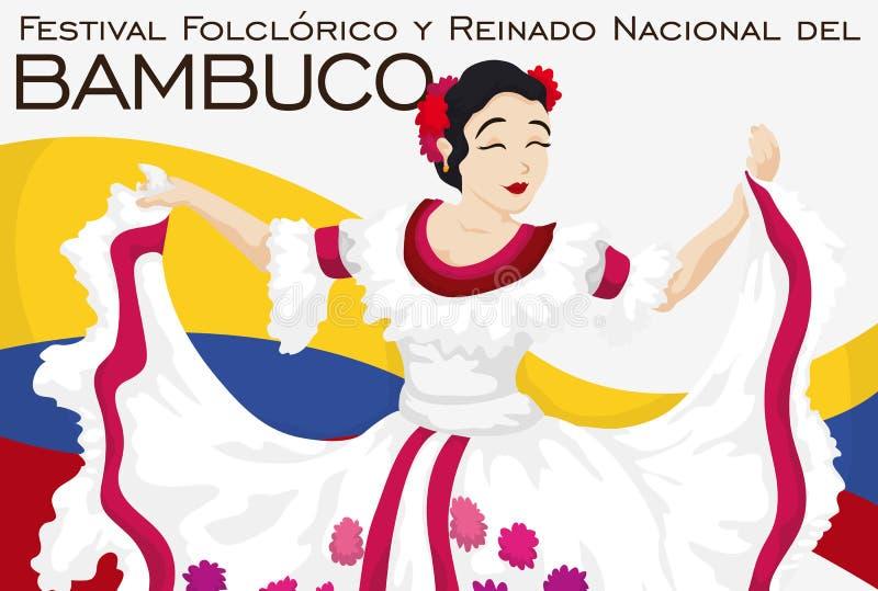 Piękny Ludoznawczy królowa taniec w Tradycyjnym Kolumbijskim Bambuco festiwalu, Wektorowa ilustracja royalty ilustracja