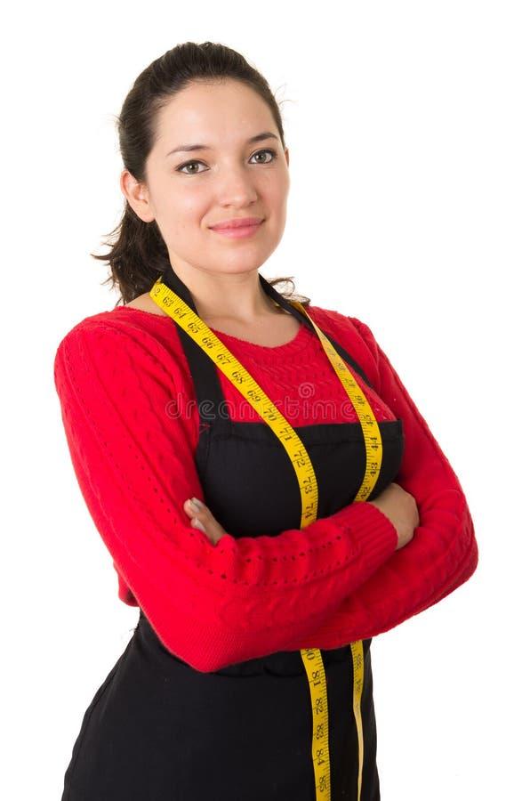Piękny młoda kobieta krawczyny szwaczki projektant fotografia stock