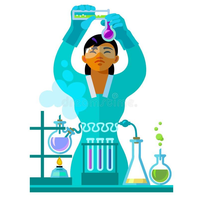 Piękny młoda kobieta naukowiec pracuje w laboratorium royalty ilustracja