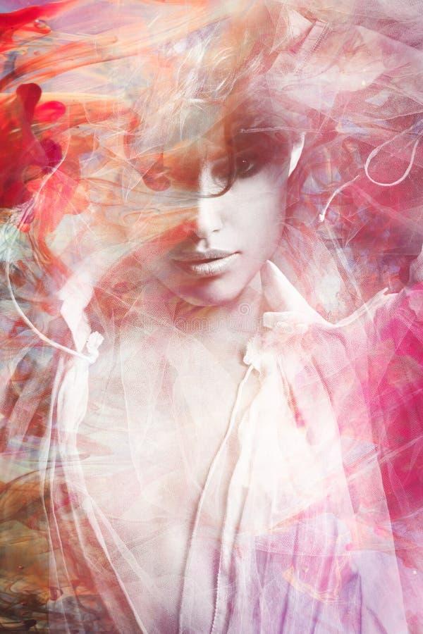 Piękny młoda kobieta portret złożony obrazy royalty free