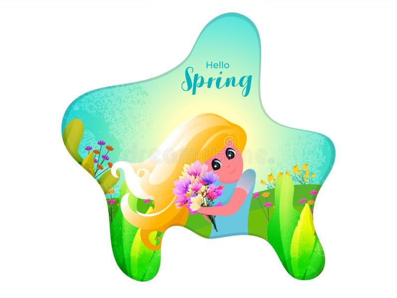 Piękny młodej dziewczyny mienia bukiet na natura widoku tle dla wiosny Cześć ilustracja wektor
