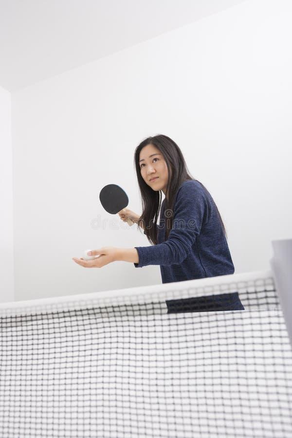 Piękny młodej kobiety narządzanie słuzyć śwista pong piłkę obrazy royalty free
