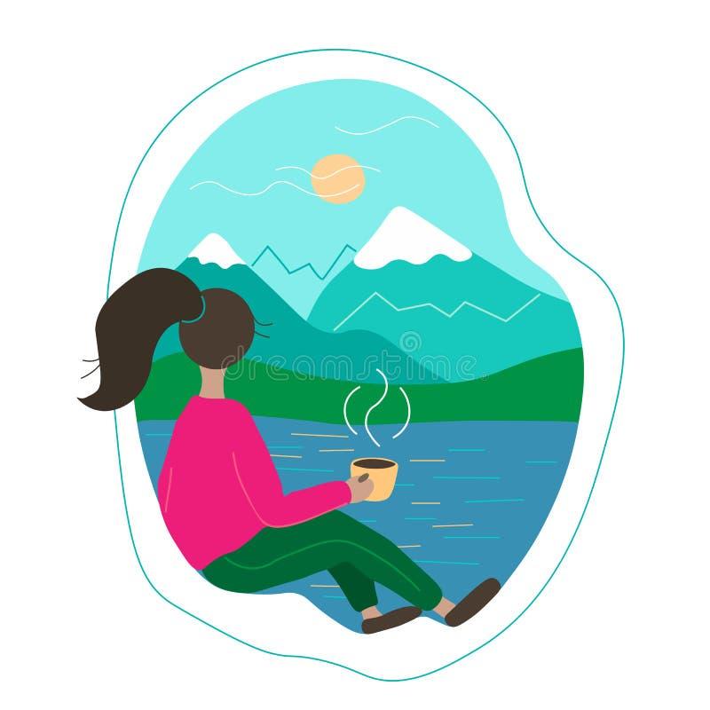Piękny młodej kobiety obsiadanie okno z filiżanka kawy i patrzeć krajobraz ilustracja wektor