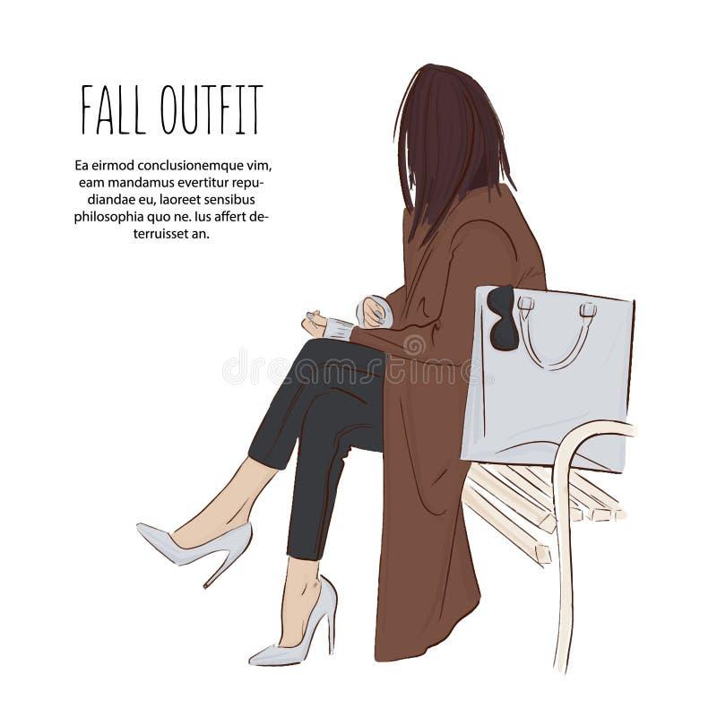 Piękny młodej kobiety obsiadanie w parku w żakiecie, cajgi, szpilki moda stanowić model Mody dziewczyna z torbą Ręka rysujący now ilustracji