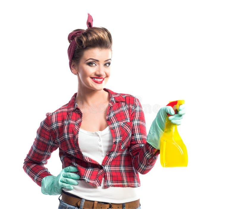 Download Piękny młody cleaner zdjęcie stock. Obraz złożonej z dziewczyna - 65225650