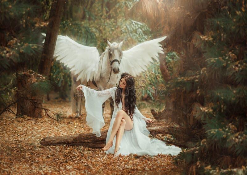 Piękny, młody elf, chodzi z jednorożec Jest ubranym nieprawdopodobnego światło, biel suknia Sztuki hotography obrazy royalty free
