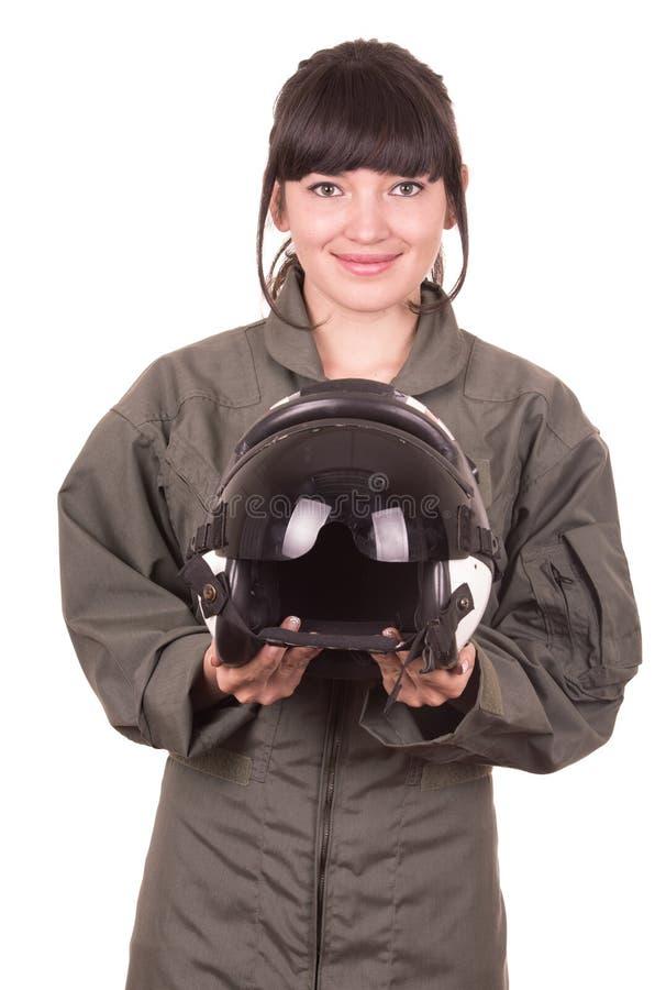 Piękny młody kobieta pilota mienia hełm obraz royalty free