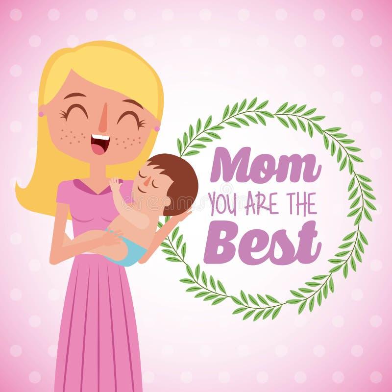 Piękny macierzysty przewożenie jej dziecko mama ty jesteś najlepszy kartą ilustracji