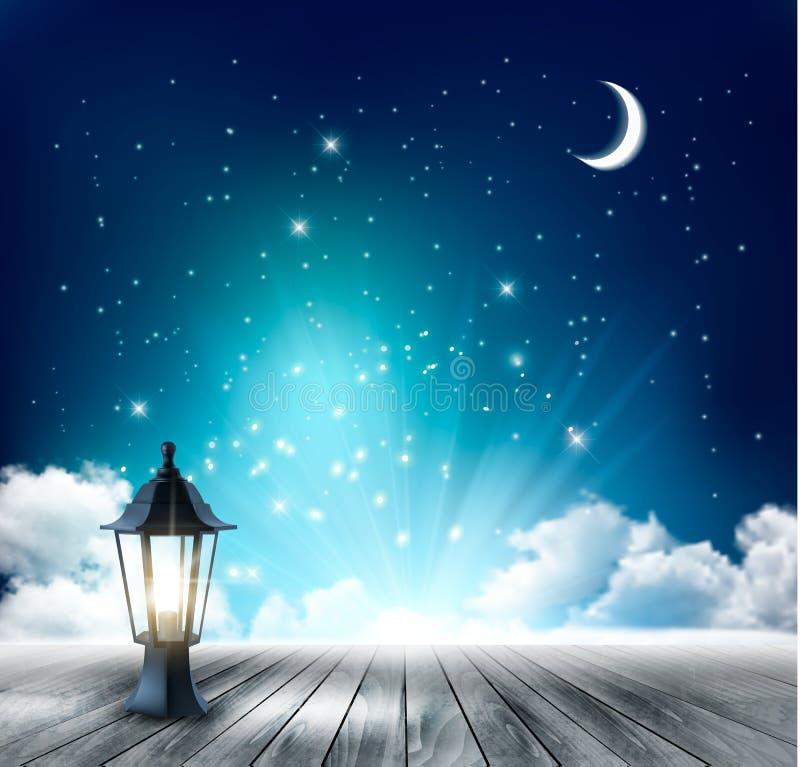 Piękny magiczny nocy tło z księżyc i lampionem ilustracja wektor