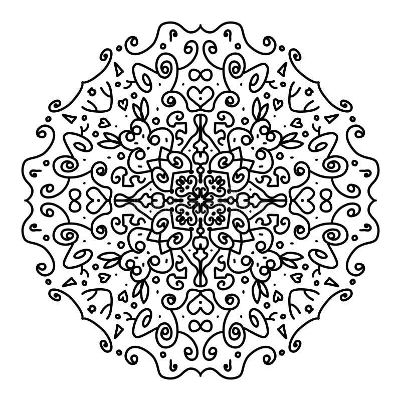 Piękny mandala barwić, czernić w białym tle obraz stock
