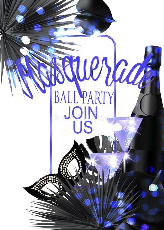 Piękny maskaradowy sztandar z maską, czara, butelki szampańscy i tropikalni liście ilustracja wektor