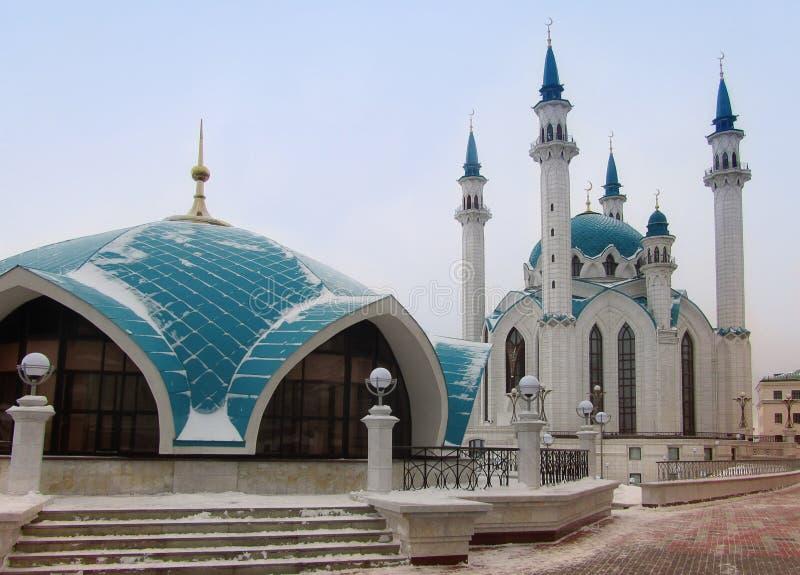 Piękny meczet w Kazan Styczeń 33c krajobrazu Rosji zima ural temperatury obraz stock