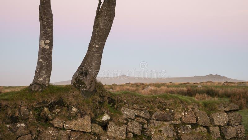 Piękny mgłowy wschód słońca krajobraz nad tors w Dartmoor reve zdjęcia stock
