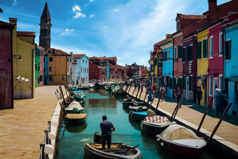 Piękny miasto Burano Włochy obrazy royalty free
