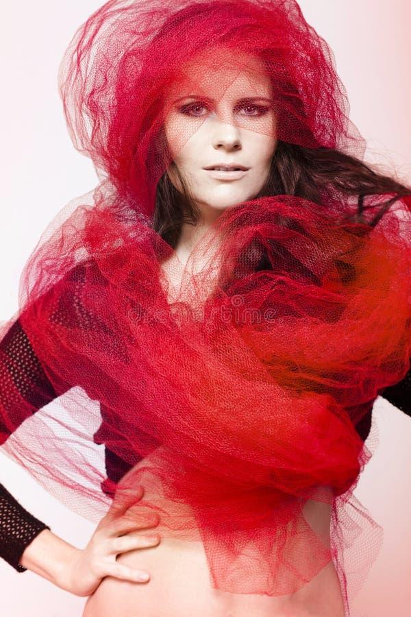 Piękny moda model z ciemnym włosy. obrazy royalty free