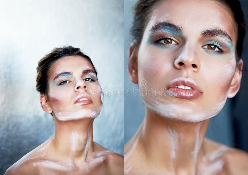 piękny model Stojaki w profilu, makeup z farb uderzeniami na twarzy kreatywna osoba obojczyki Na srebrze fotografia royalty free