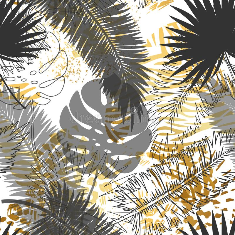 Piękny modny bezszwowy egzota wzór z tropikalnymi roślinami i ręka rysującą złotą teksturą Nowożytny abstrakcjonistyczny projekt  royalty ilustracja
