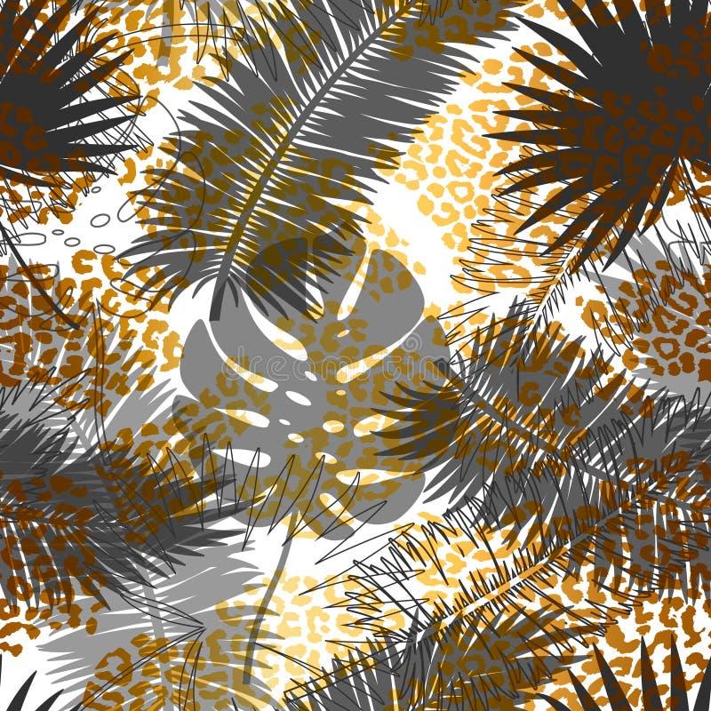 Piękny modny bezszwowy egzota wzór z tropikalnymi roślinami i złotymi zwierzęcymi drukami Nowożytny abstrakcjonistyczny projekt d ilustracja wektor