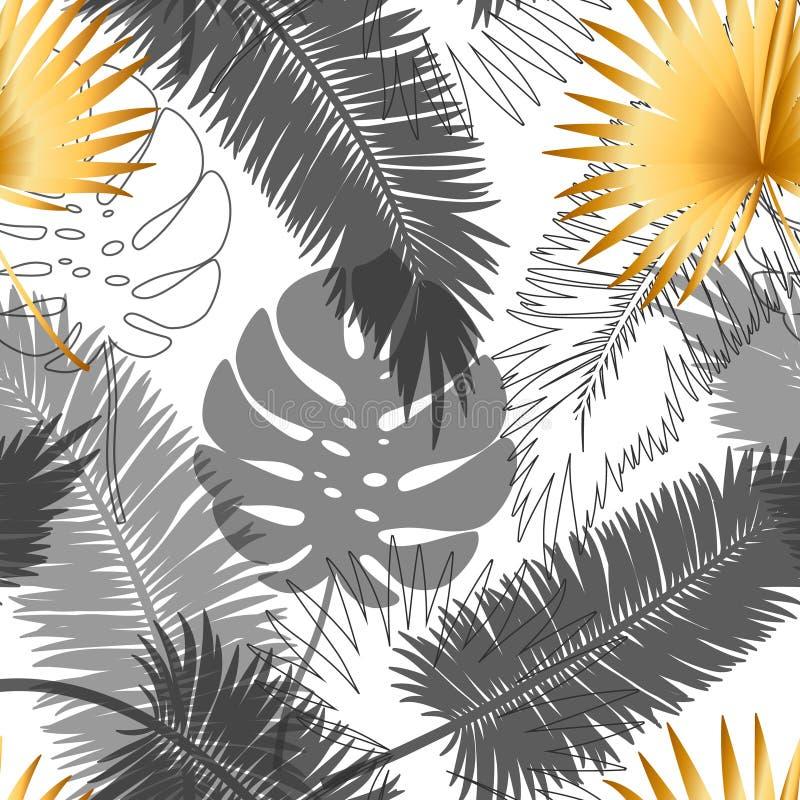 Piękny modny bezszwowy egzota wzór z tropikalnymi roślinami Nowożytny abstrakcjonistyczny projekt dla papieru, tapeta, pokrywa ilustracja wektor