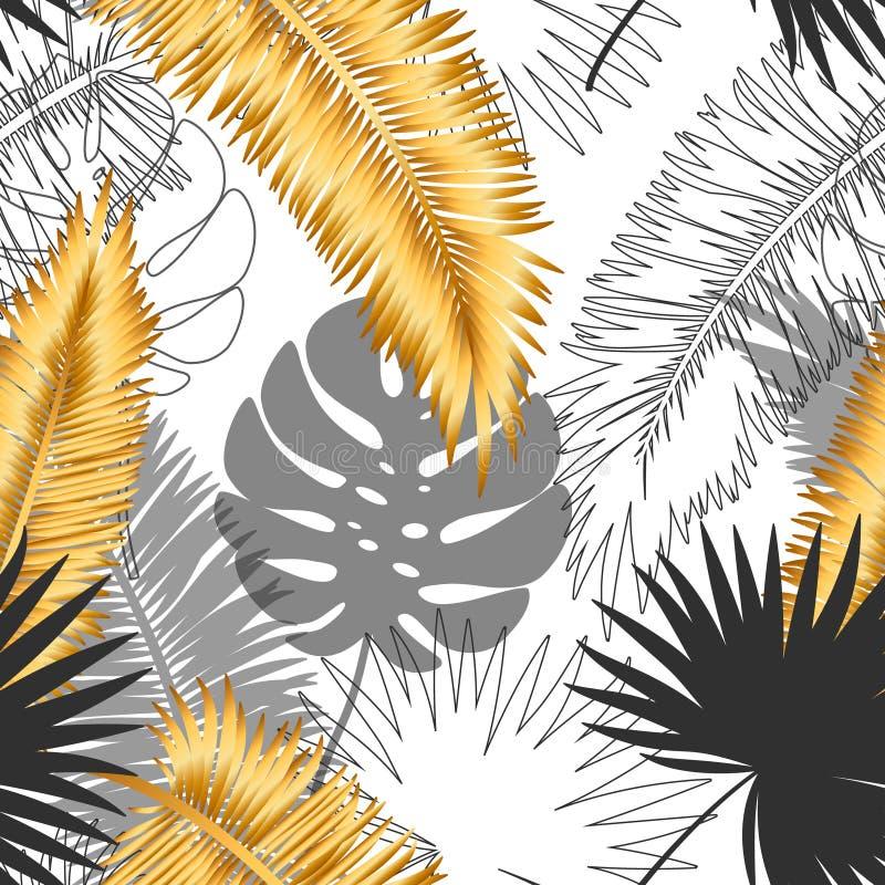 Piękny modny bezszwowy egzota wzór z tropikalnymi roślinami Nowożytny abstrakcjonistyczny projekt dla papieru, tapeta, pokrywa ilustracji