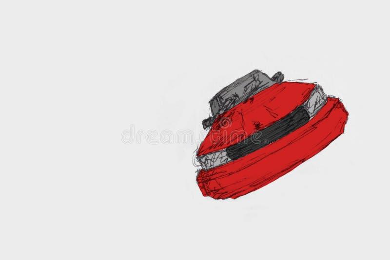 Piękny Modren Samochodowy Czerwony kolor Na białej księdze - ilustracja wektor