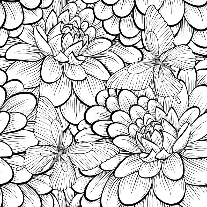 Piękny monochrom, czarny i biały bezszwowy tło z kwiat dalią ilustracja wektor