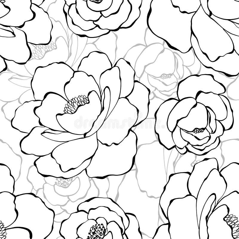 Piękny monochromatyczny bezszwowy wzór z różami Ręki Rysować Konturowe linie royalty ilustracja