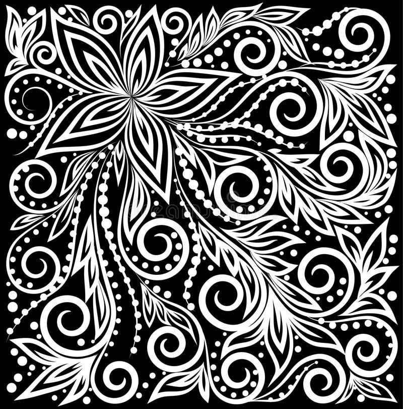 Piękny monochromatyczny czarny i biały Dekoracyjny graficzny kędzierzawy tło z kwiatów i liści wzorem royalty ilustracja