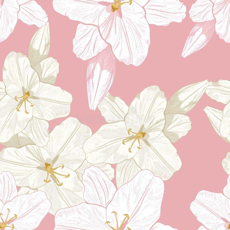 Piękny monochromu, sepiowego i różowego konturu bezszwowy wzór z lelujami, royalty ilustracja