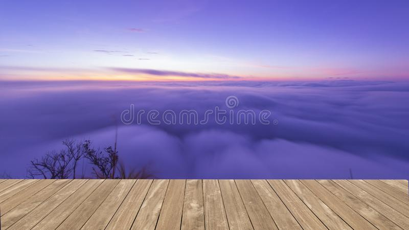 Piękny morze mgła na Poo Chee Fah, Chaingrai, Tajlandia zdjęcia royalty free