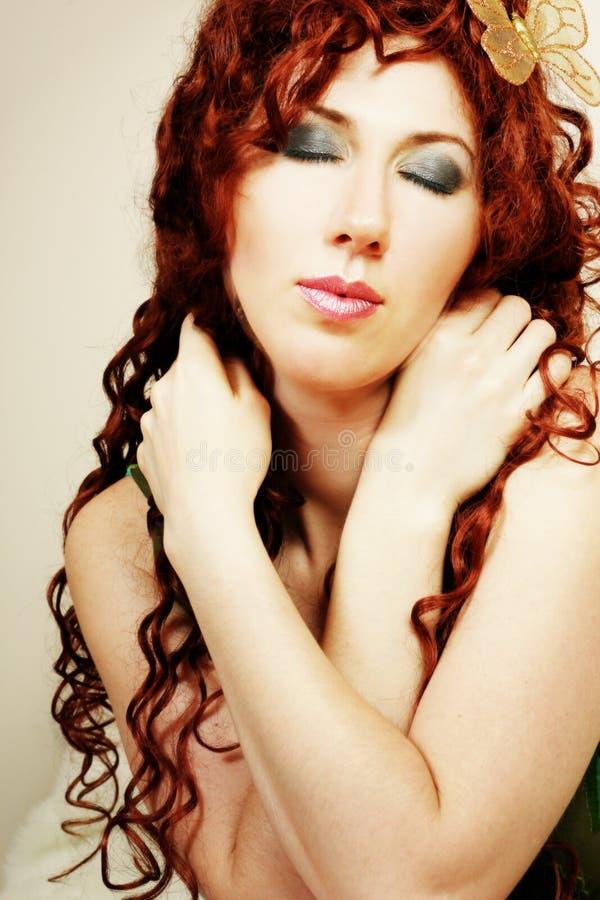piękny motyliego włosy pani długa kobieta zdjęcie stock