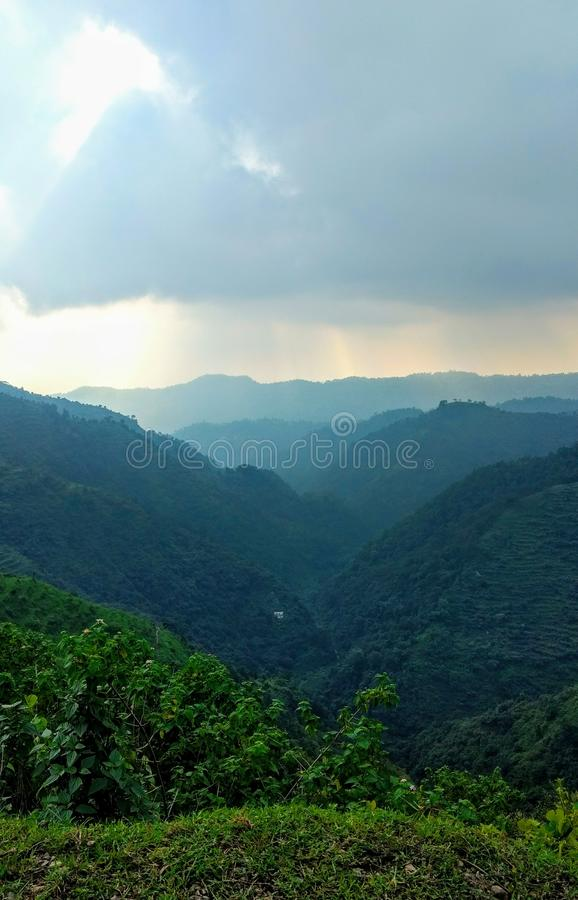 Piękny mountaits widok przy khera rishikesh uttrakhand goan ind fotografia stock