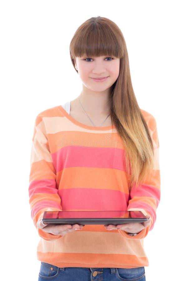 Piękny nastoletniej dziewczyny mienia pastylki komputer odizolowywający na bielu obrazy stock