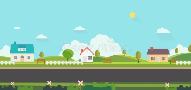 Piękny natura krajobraz z domów, ławki i ogrodzeń tłem, Stwarza ognisko domowe z Zielonymi wzgórzami i niebieskim niebem Jawny pa ilustracji