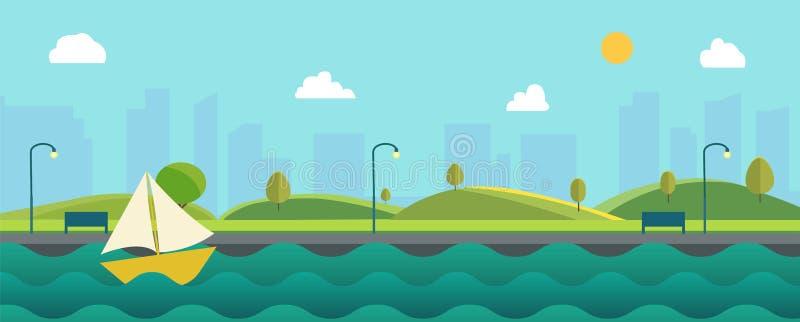 Piękny natura krajobraz z rzeką, żagiel łodzią i pejzażu miejskiego tłem, Zieleni wzg?rza z niebieskim niebem park spo?ecze?stwa ilustracji