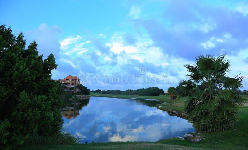 Piękny natura krajobraz z widokiem na zielonych drzewach, drzewkach palmowych i jeziorze na zadziwiającym niebieskiego nieba tle, zdjęcie stock