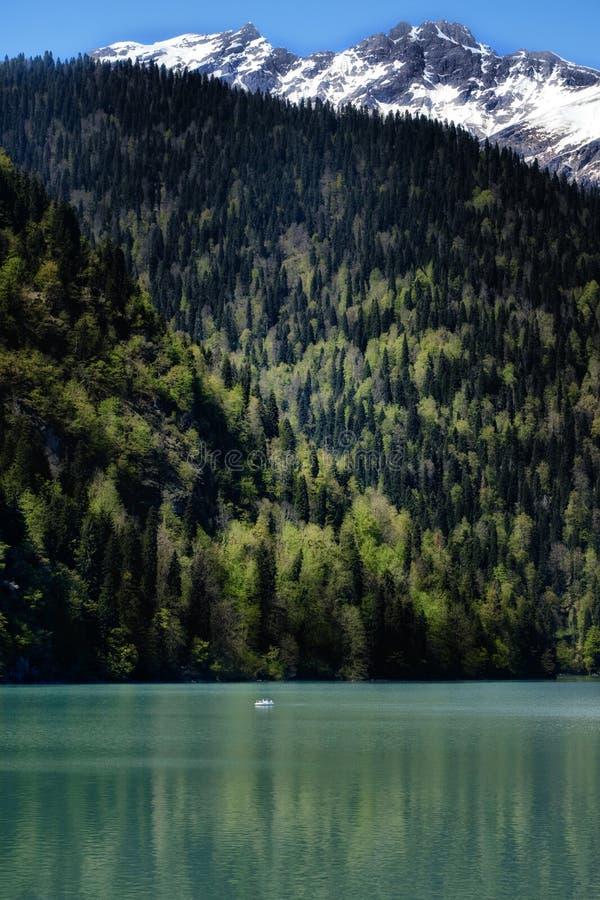 Piękny natura krajobrazu widok jeziorny Mały Ritsa, Abkhazia zdjęcia royalty free