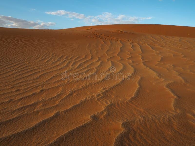 Piękny naturalny wzór ośniedziała czerwona piasek diuna z niebieskim niebem i bielu obłocznym tłem, Sossus, Namib deser zdjęcie royalty free