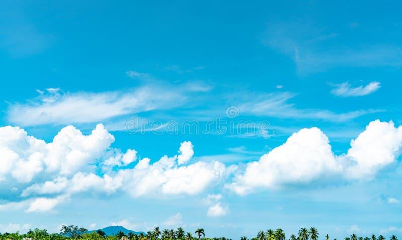 Piękny niebieskie niebo i białe cumulus chmury przeciw kokosowemu drzewu i górze w szczęśliwym i chłodzimy za dniu obraz stock