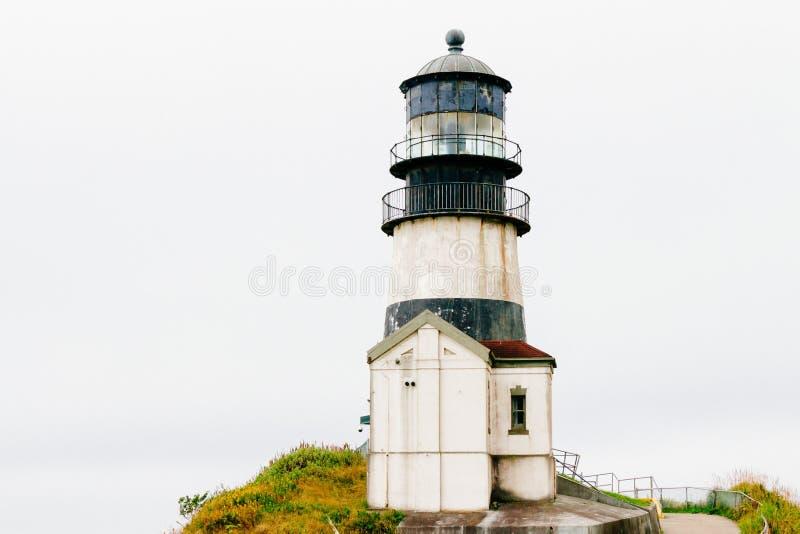 Piękny, niskokątny strzał w historycznej latarni morskiej Cape Rozczarowanie w Waszyngtonie fotografia stock