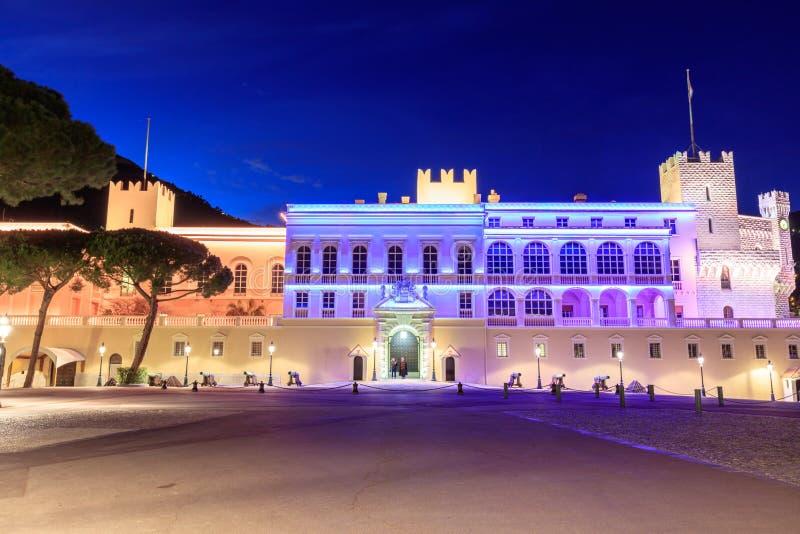 Piękny noc budynek książe ` s pałac w Monaco zdjęcie royalty free