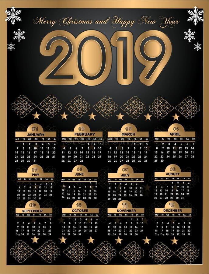 Piękny nowego roku kalendarz 2019 projekt z przestrzenią dla twój daty i notatek royalty ilustracja