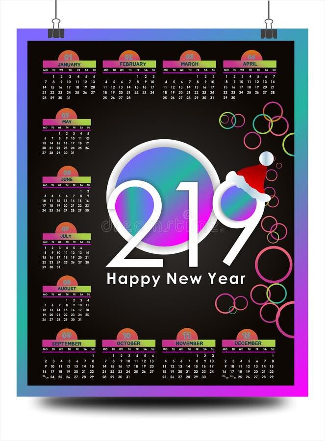 Piękny nowego roku kalendarz 2019 projekt z przestrzenią dla twój daty i notatek ilustracji