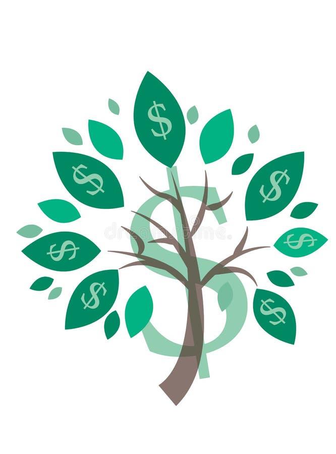 Piękny obraz wektorowy drzewa pieniędzy - symbol sukcesu biznesowego w projektowaniu stron internetowych na białym tle ilustracja wektor