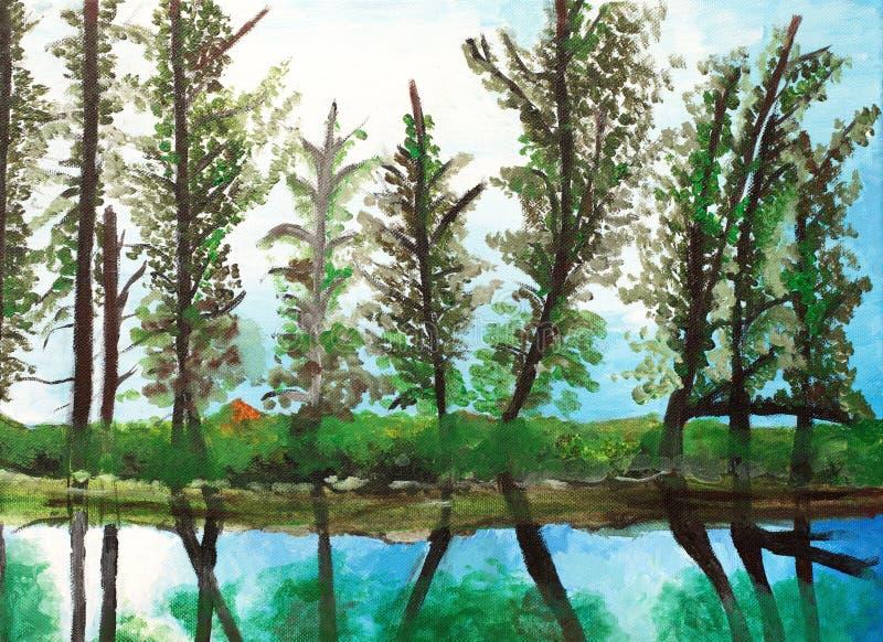 Piękny obraz z odbiciem drzewa ilustracji
