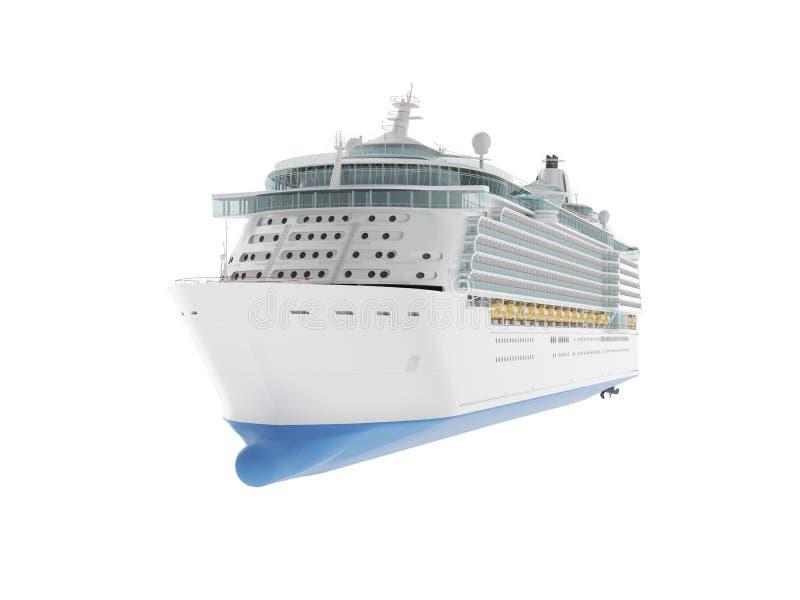 Piękny ogromny statek wycieczkowy odizolowywający na białym tle royalty ilustracja