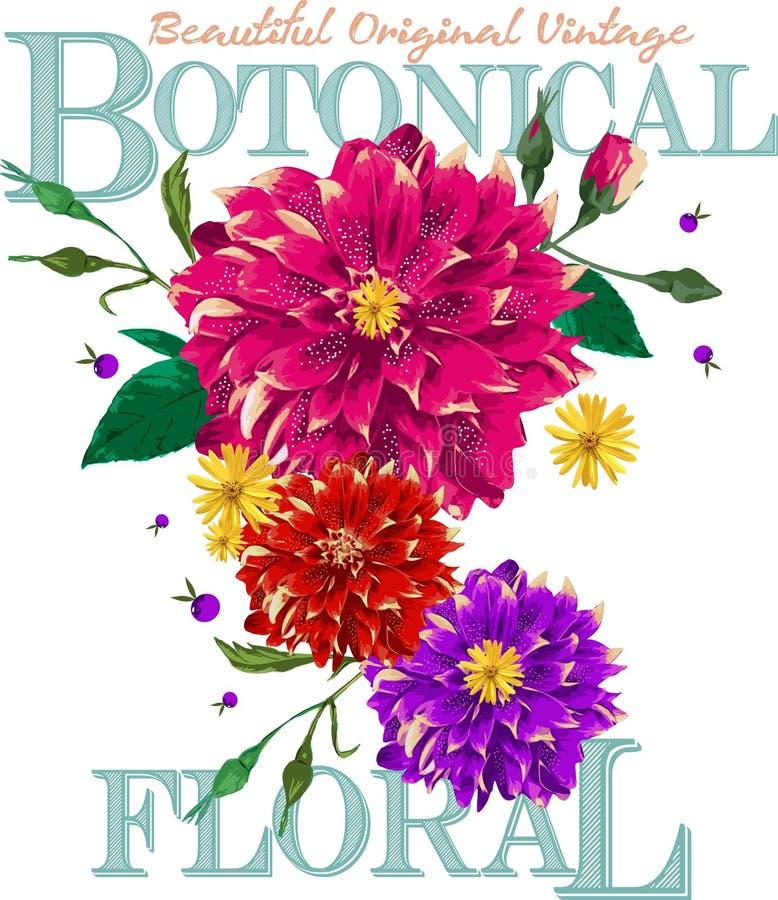 Piękny oryginalny rocznik botaniczny royalty ilustracja