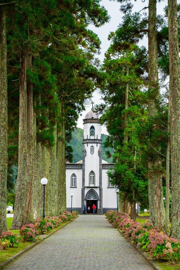 Piękny oszałamiająco widok wioska w Nordeste Sao Miguel wyspie zdjęcie royalty free