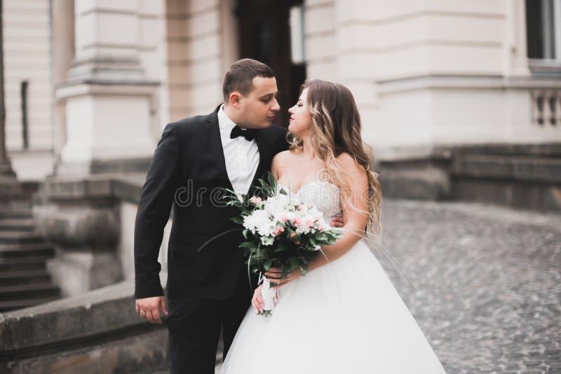 Piękny państwa młodzi obejmowanie, całowanie na ich dzień ślubu i zdjęcie stock